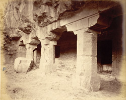 General view from the right of porch and entrance to the two storeyed Buddhist Vihara, Cave V, Ajanta